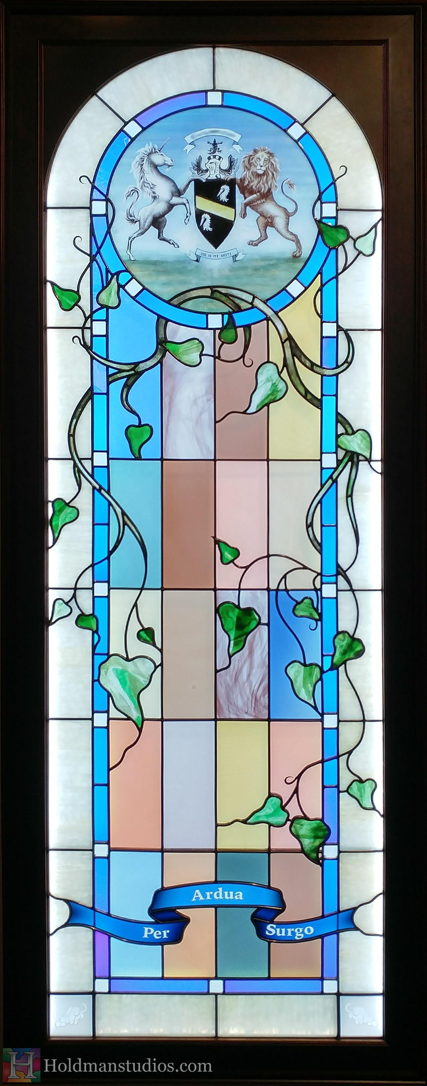 Holdman-studios-stained-glass-window-per-ardus-surgo-vine-leaves-plants-lion-unicorn-coat-of-arms-closeup.jpg