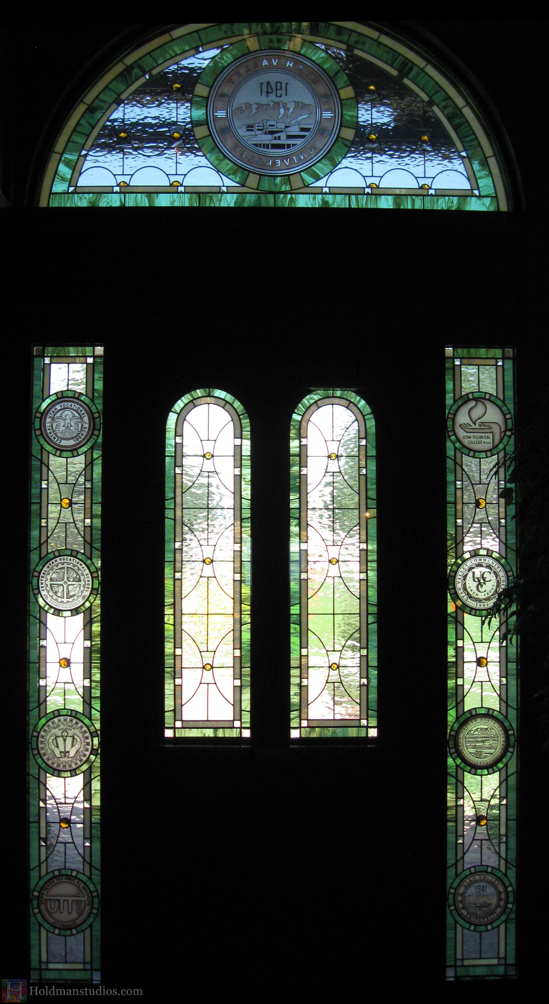 Holdman-studios-stained-glass-front-door-sidelight-transom-windows-utah-valley-university-alumni-house.jpg