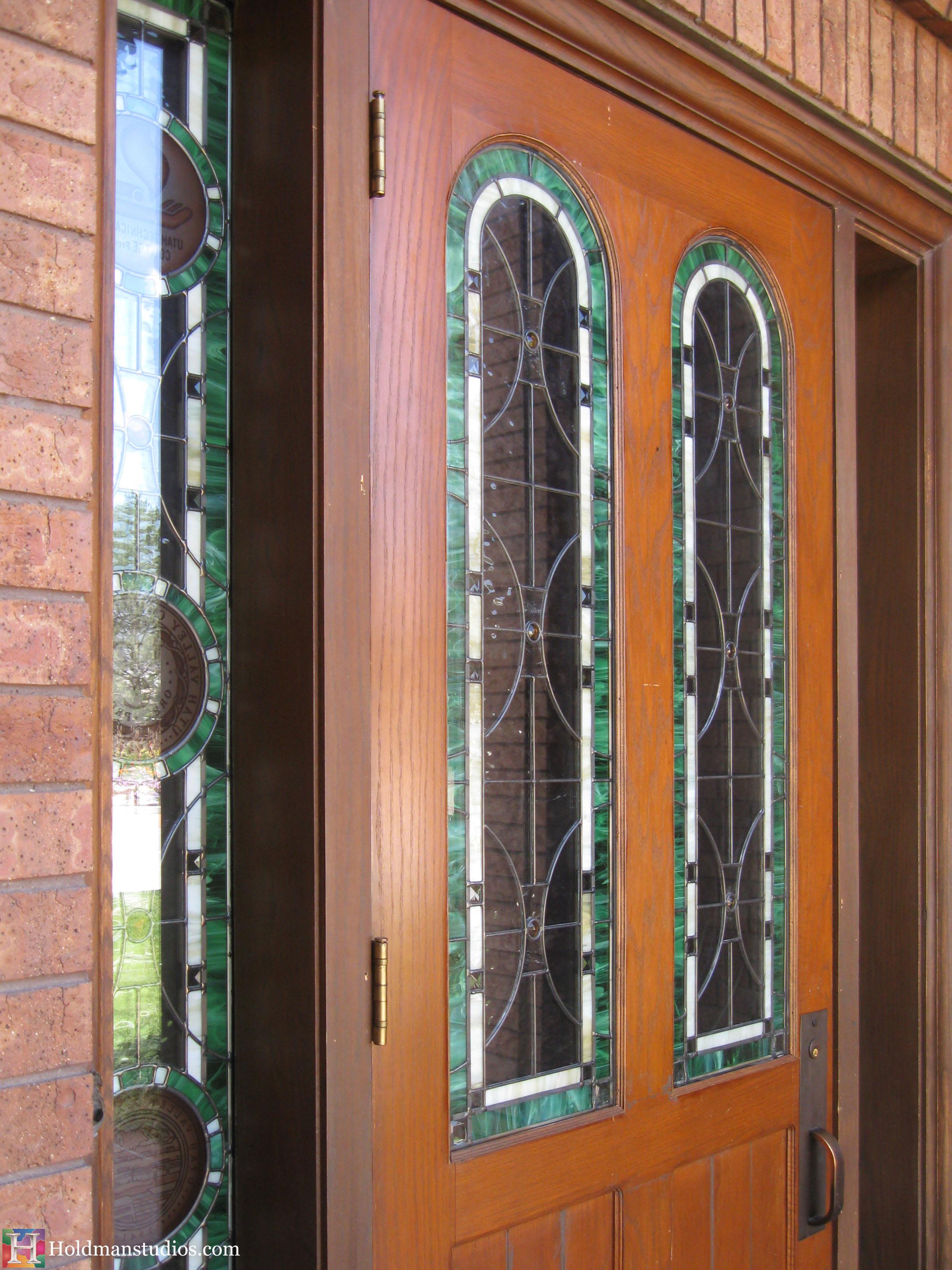 Holdman-studios-stained-glass-front-door-sidelight-windows-utah-valley-university-alumni-house.jpg