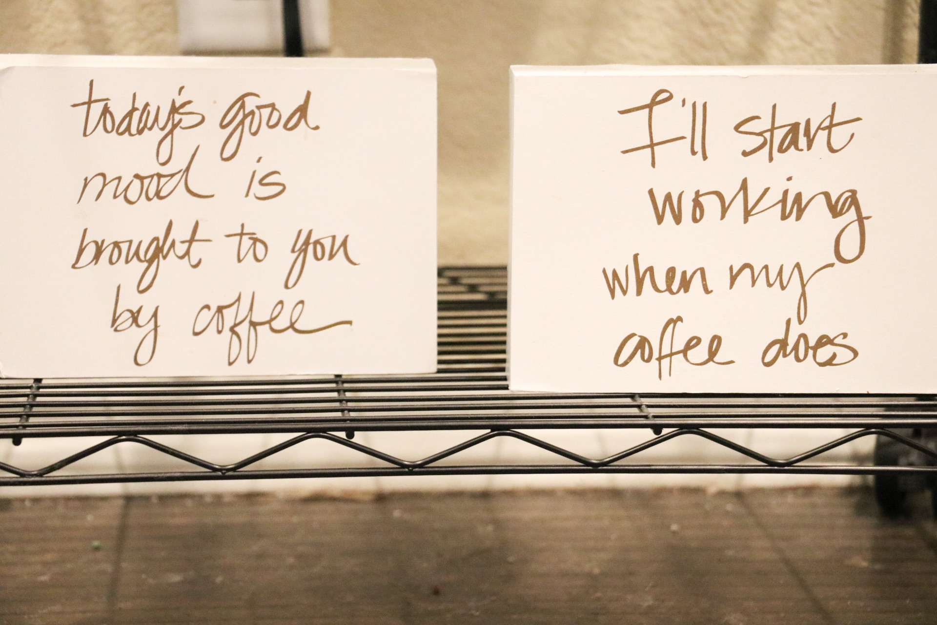 Placed under our coffee stand area, are these cute block quotes from Hobby Lobby!