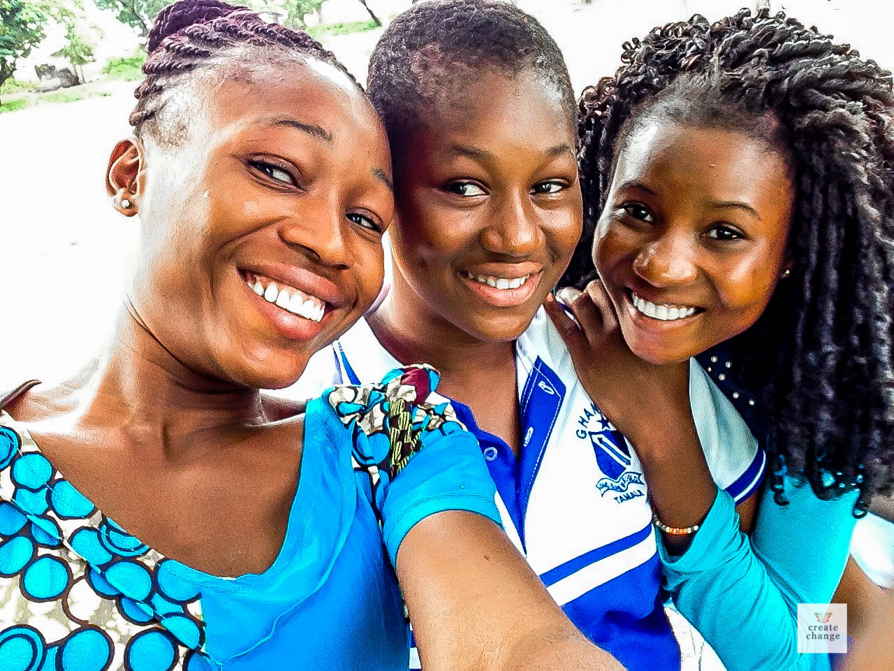 Girls club interns looking happy with Dorcas afer club meetin at Ghanasco.jpg