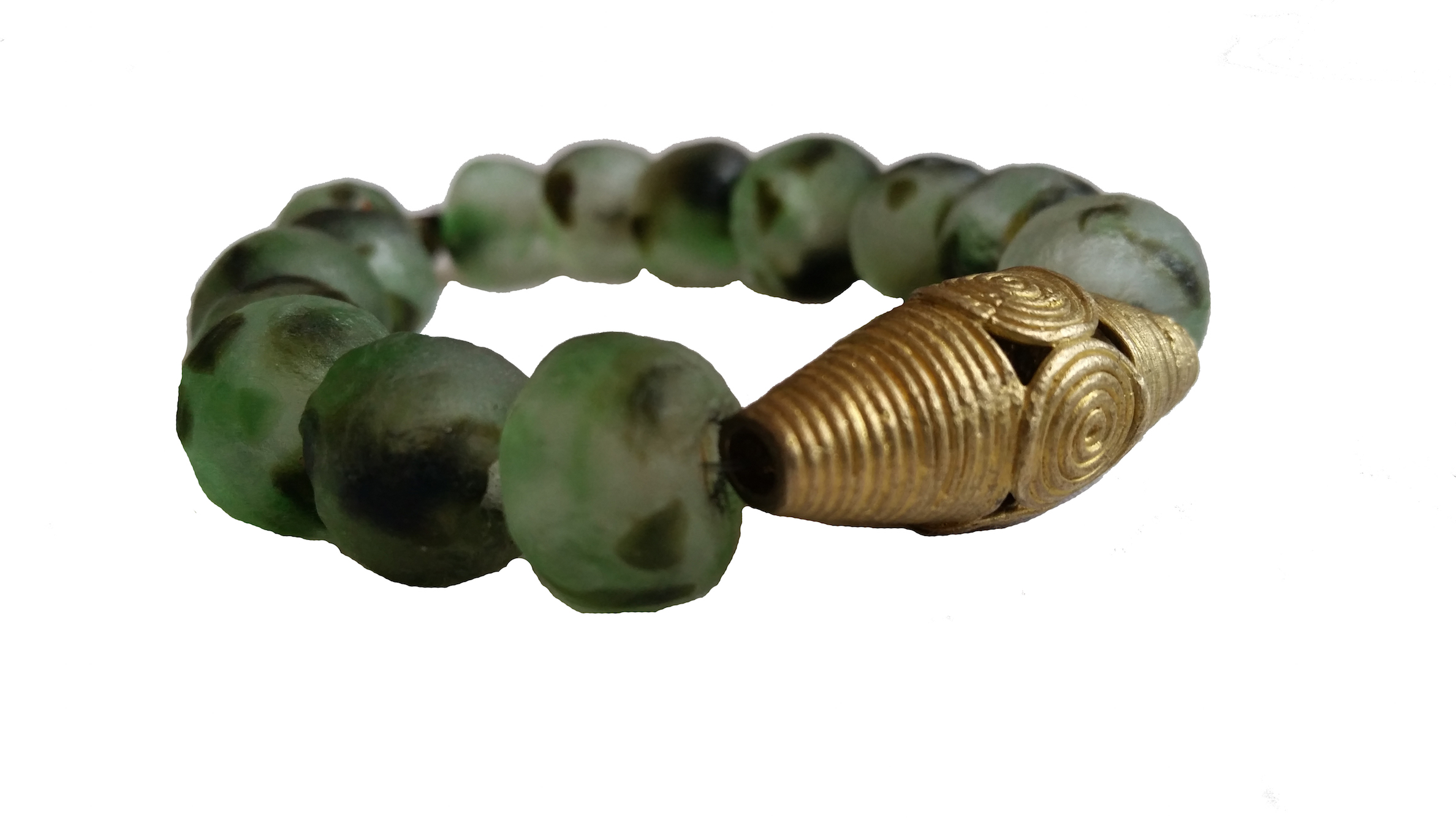 GLASS BEAD & BRONZE BRACELET   Handmade recycled glass beads from Ghana's Volta region and lost wax-cast bronze beads from Ghana's Ashanti region.