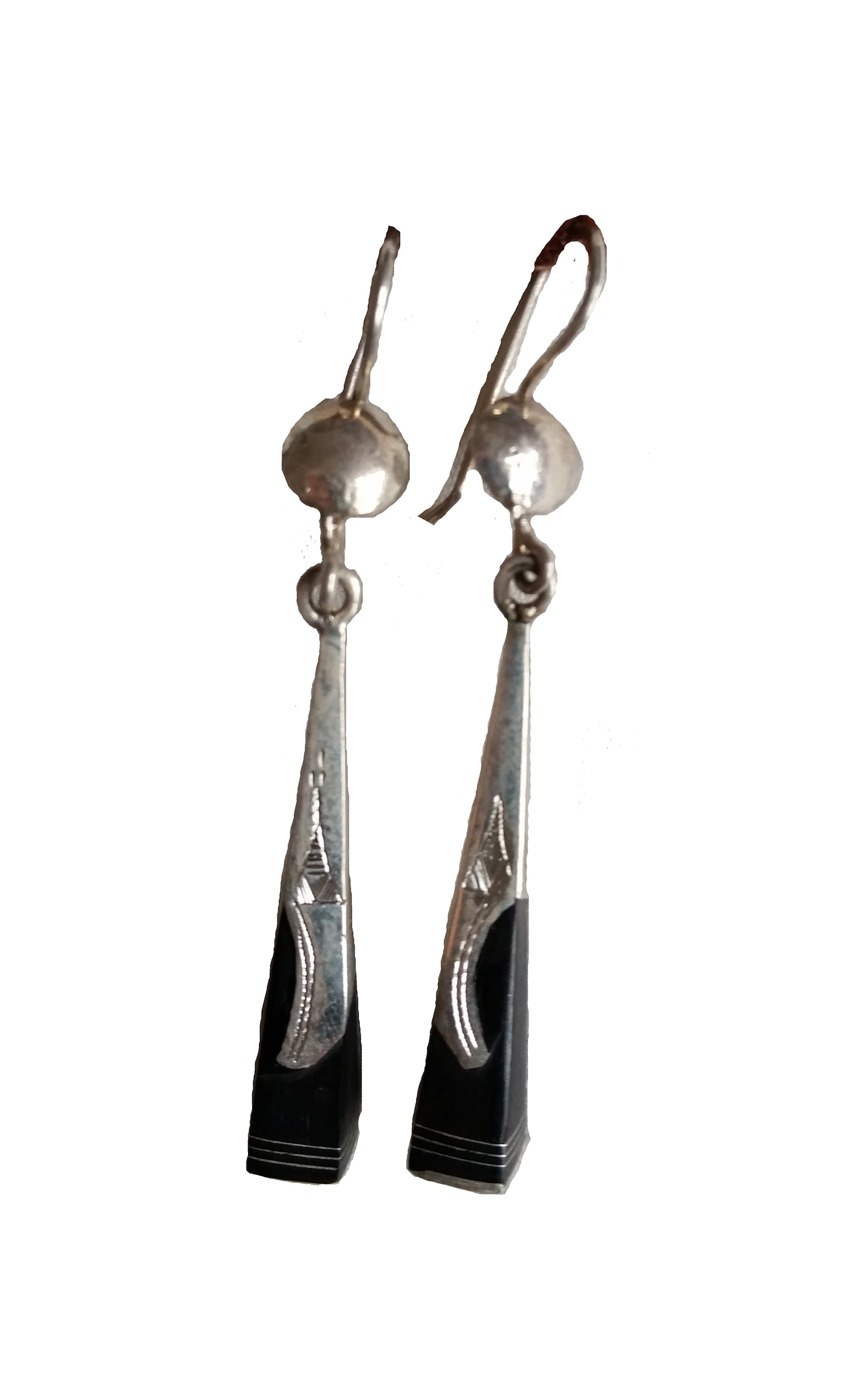 EBONY  EARRINGS   Hand cast silver with etching and ebony.