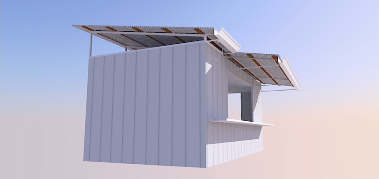 Early rendering of the container café.