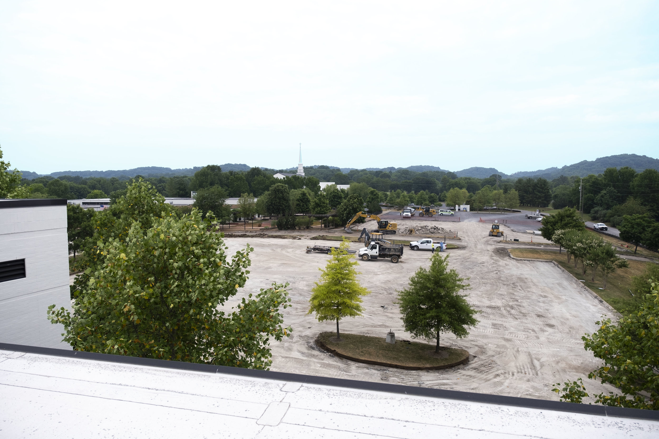 View is from the Academy, looking north toward the church and Old Hickory Blvd.