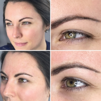 Top row: healed Stardust/Powder brows after first session | Bottom row: after follow up session