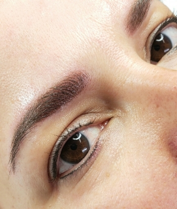 Powder brows + upper and lower eyeliner