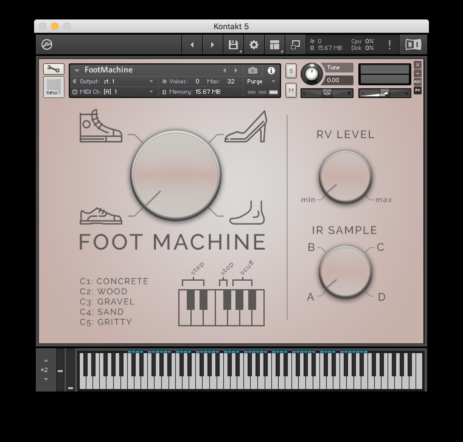 UI of Foot Machine, the footsteps Kontakt instrument