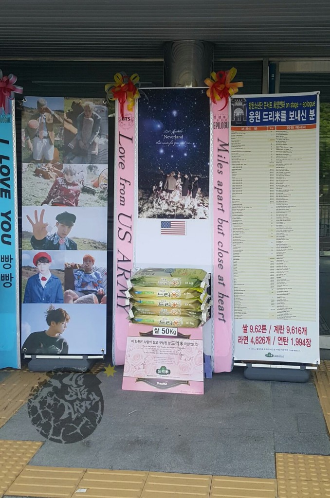 Rice Wreath support for BTS HYYH On Stage Epilogue Concert in Korea