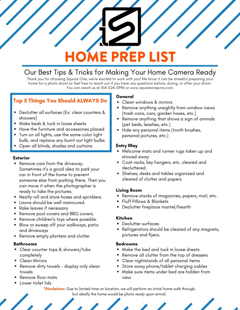 Square One Home Prep List