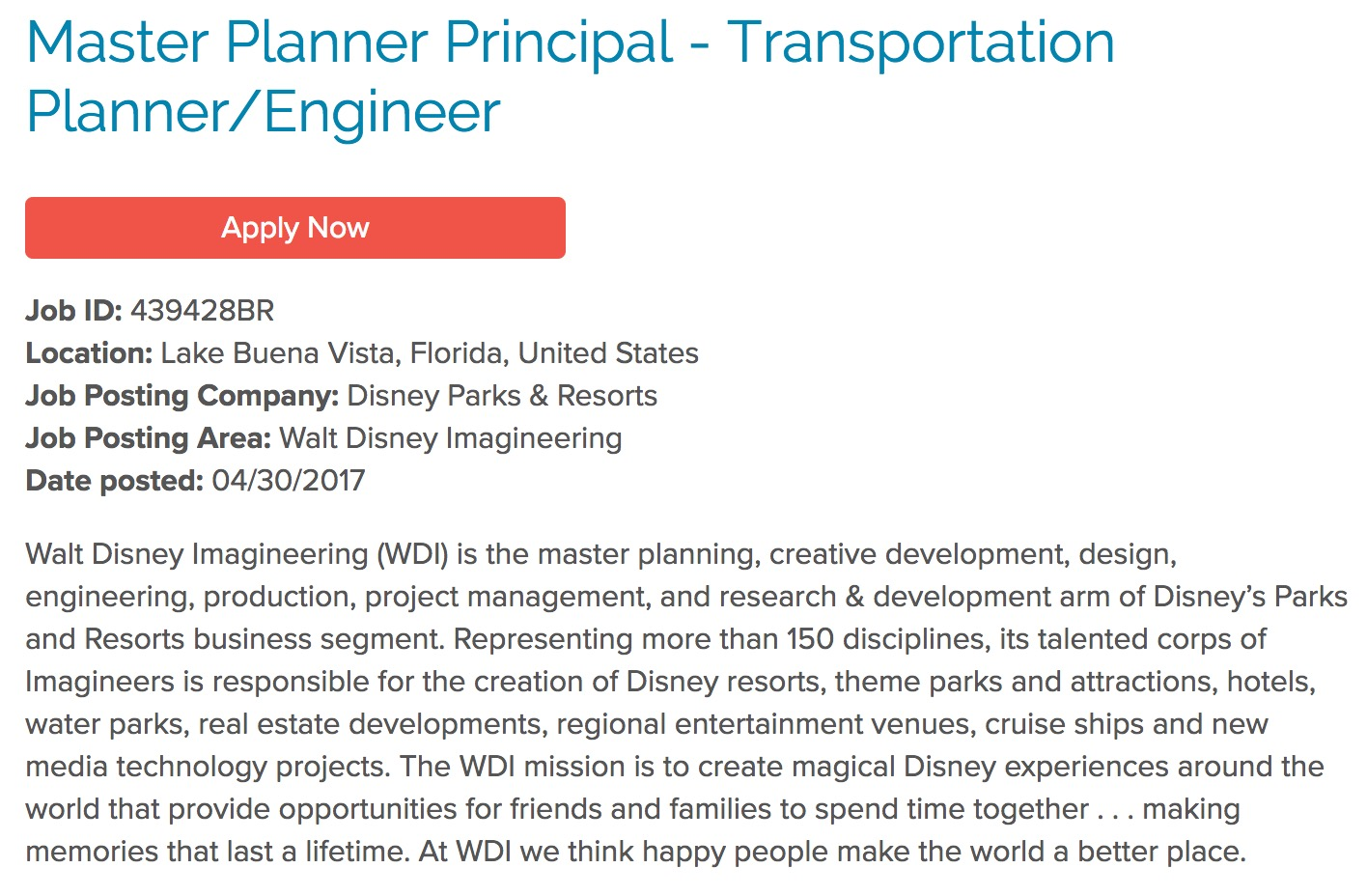A snippet of the posting from Disney Careers