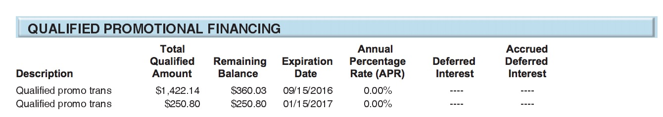 My Disney Cruise Line payments qualified for 0% financing, as expected!