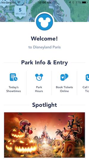 "Disney Paris App - ""Welcome!"" Page"