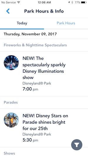 Disneyland Paris App - Showtimes