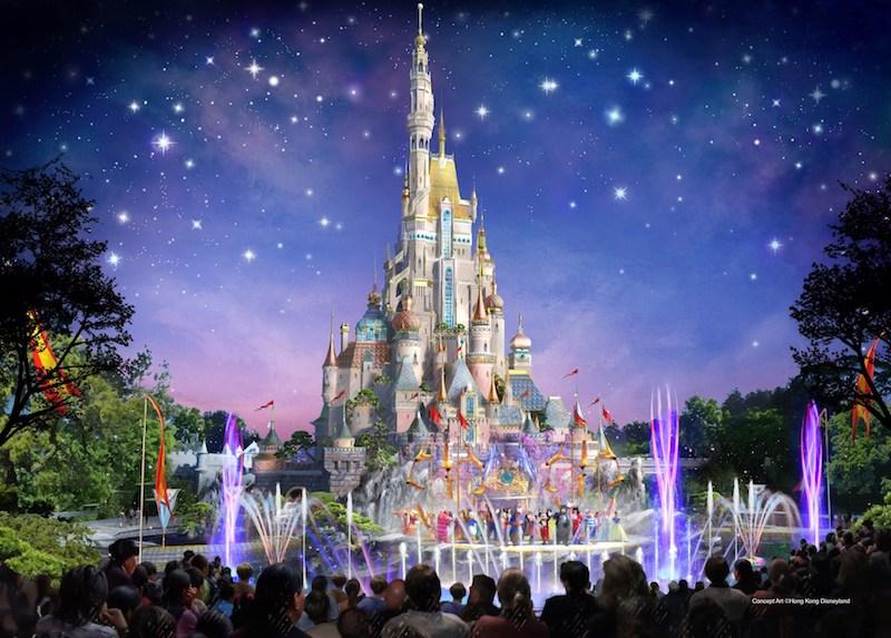 Rendering of the upcoming castle at Hong Kong Disneyland.