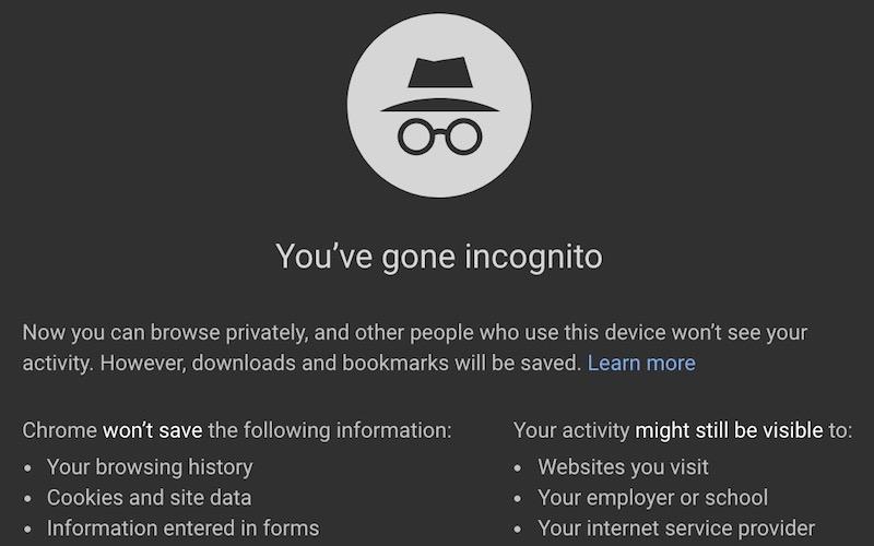 """A Google Chrome """"incognito"""" window."""