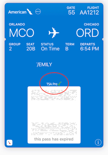 Even digital boarding passes must carry TSA indicators!