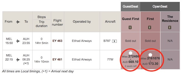 "Etihad Guest First (saver) seats cost 272,466 miles on this booking for two people, while their standard ""OpenSeat"" space costs 2,161,076 miles!"