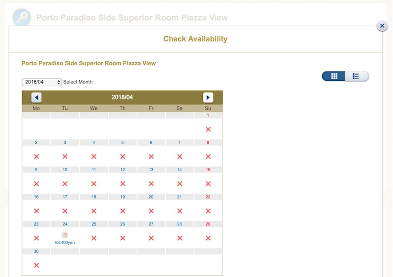 An availability calendar showing one night available in April 2018.