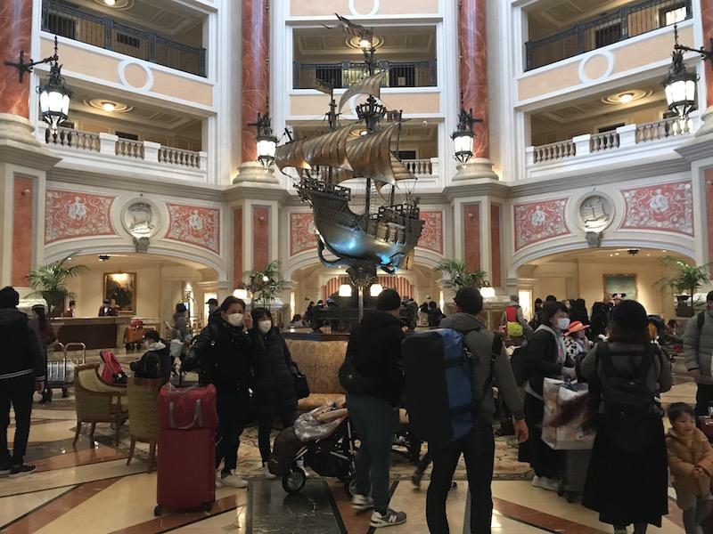 The busy lobby at Tokyo DisneySea Hotel MiraCosta