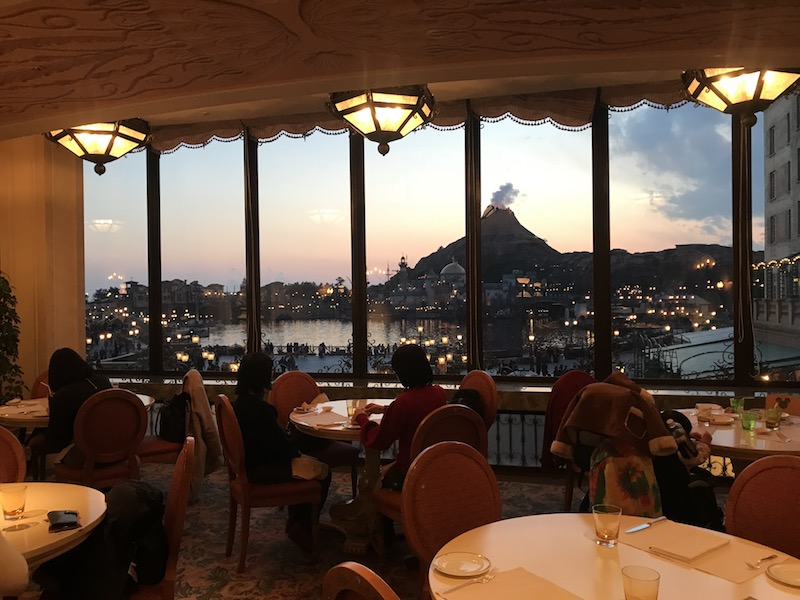 The view into Tokyo DisneySea from Hotel MiraCosta's BellaVista Lounge