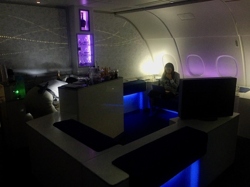 Korean Air's A380 business class, with onboard bar, is our preferred way to get to Asia.