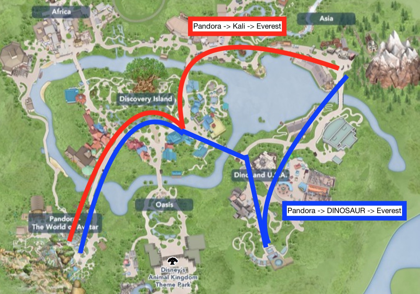 Your morning should take one of these two routes. Use your third Animal Kingdom Fastpass for the ride you skip.