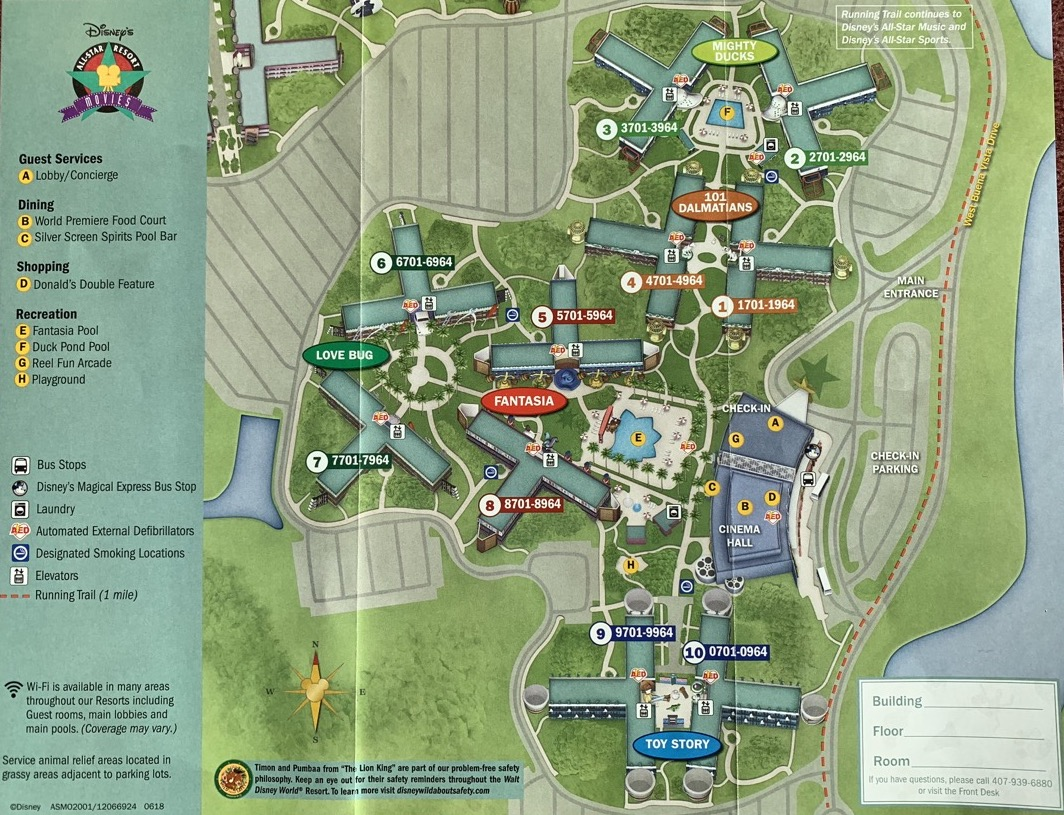 Disney World All Star Movie Resort Map on