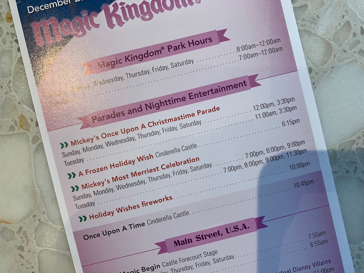 Magic Kingdom's December 23 to 29 Times Guide