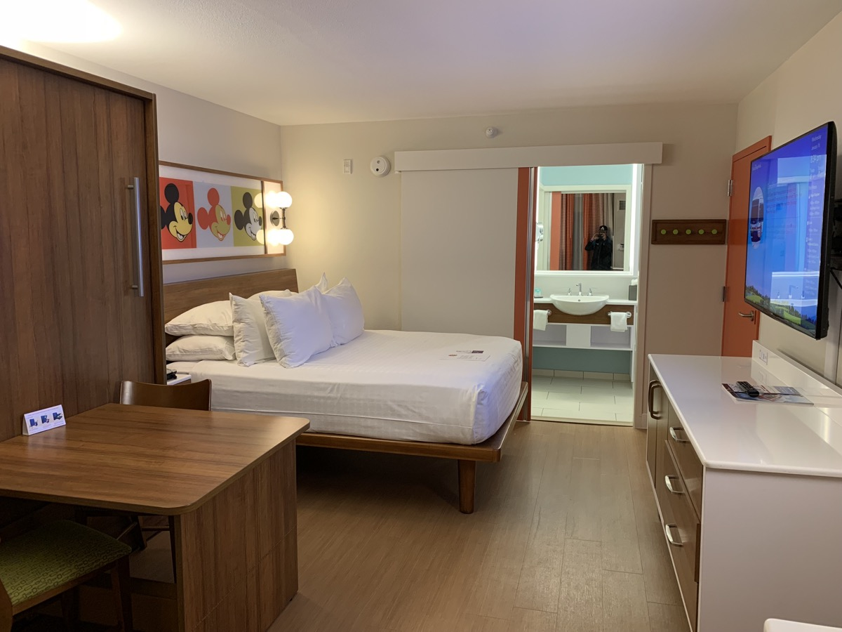 A room at Pop Century with the Murphy bed up
