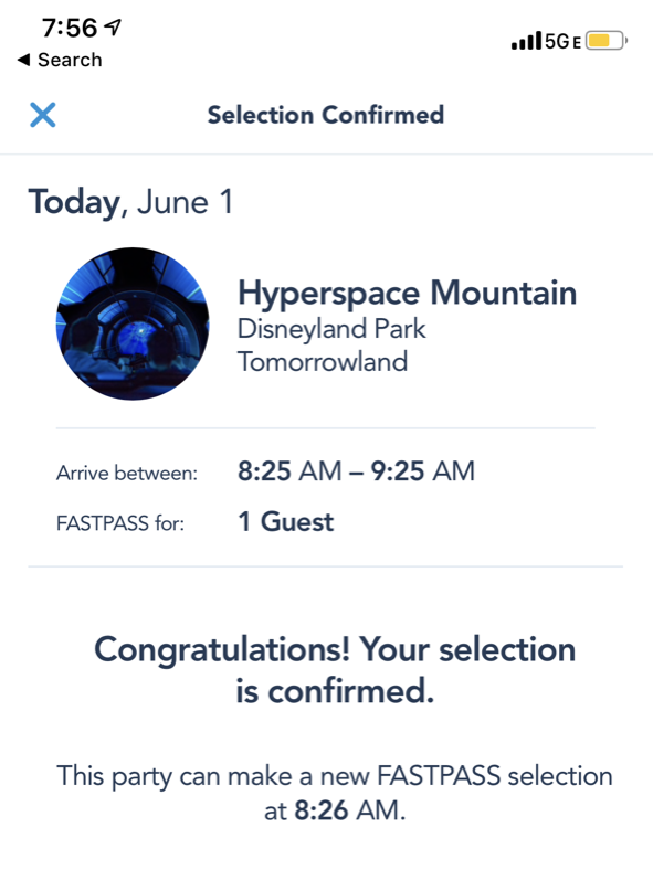 disneyland trip report day 3 disneyland extra magic hour 14 hyperspace fastpass.png