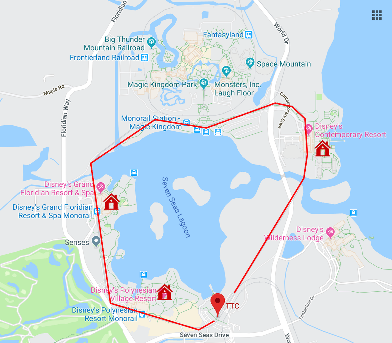 Original Copyright Google | Transportation and Ticket Center, with the monorail (red), monorail resorts (red houses), and Magic Kingdom (top of map)