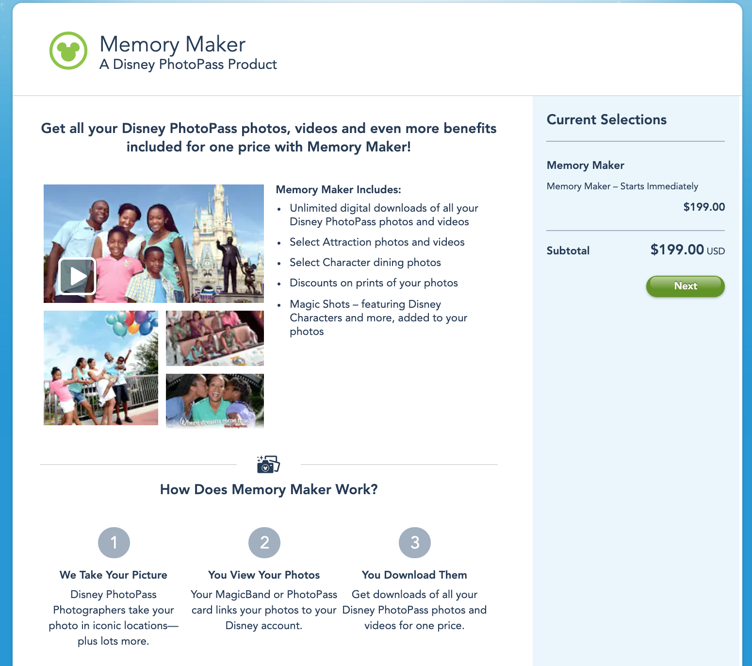 disney world photopass memory maker purchase page.png