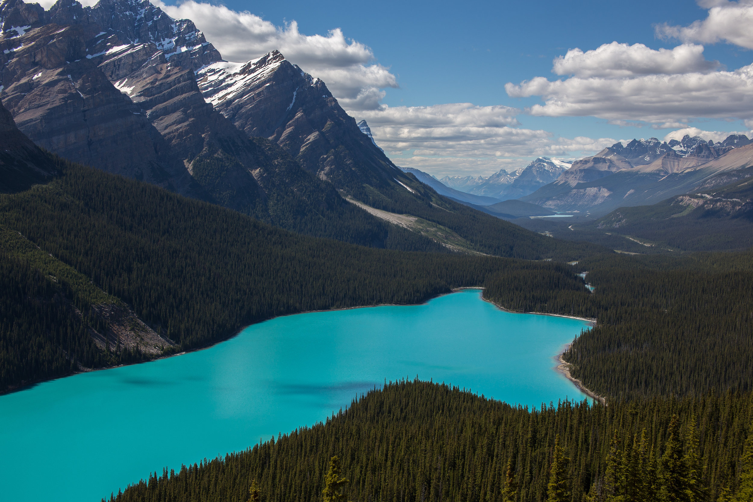 Peyto Lake  - Located just 6km North of Simpson's Num-Ti-Jah Lodge on the Icefields Parkway, the viewpoint provides a vast view of Beautiful Peyto Lake and miles of valley beyond. This spot is a favourite for professional photographers and sightseers alike.