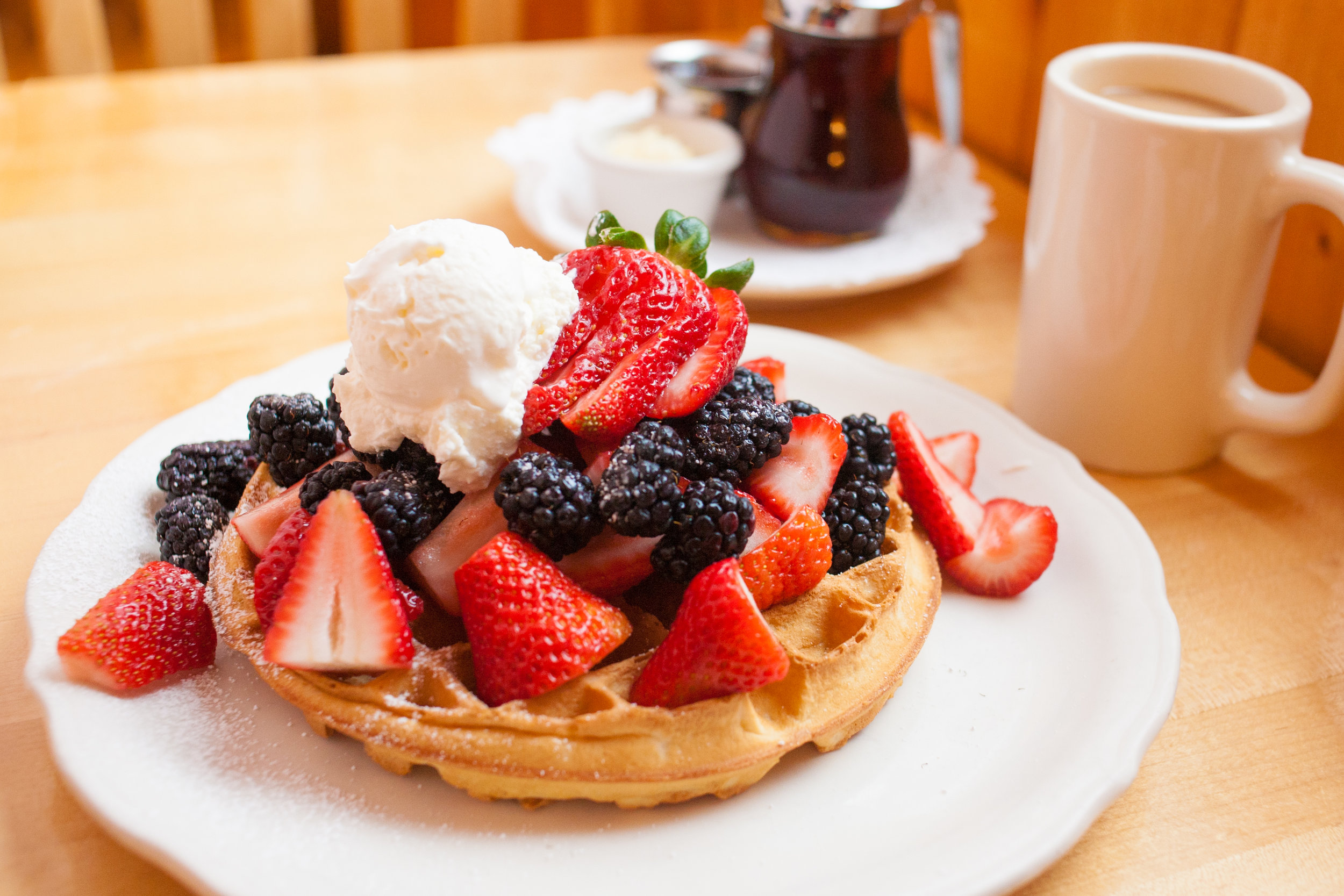 Berry Waffle Easter Special $14   Coffee, berry waffle, choice of side, & Mimosa!!!!!