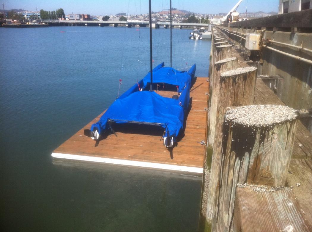 A wharf-side jetty for storing small yachts for Oracle in San Francisco utilising Pontoonz walk pods.