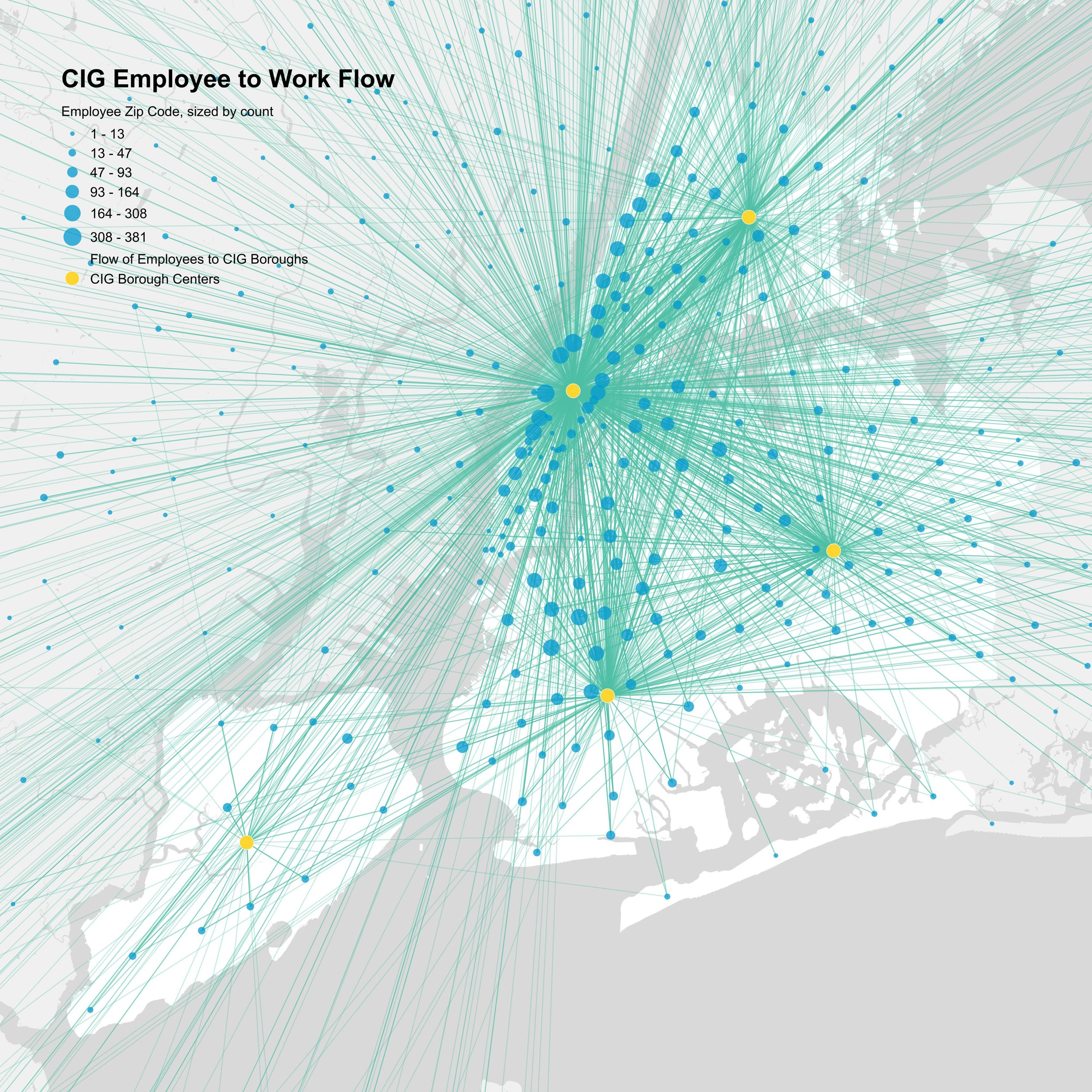 Flow map built with City Owned Cultural Institution (CIG) employee data using R and QGIS.