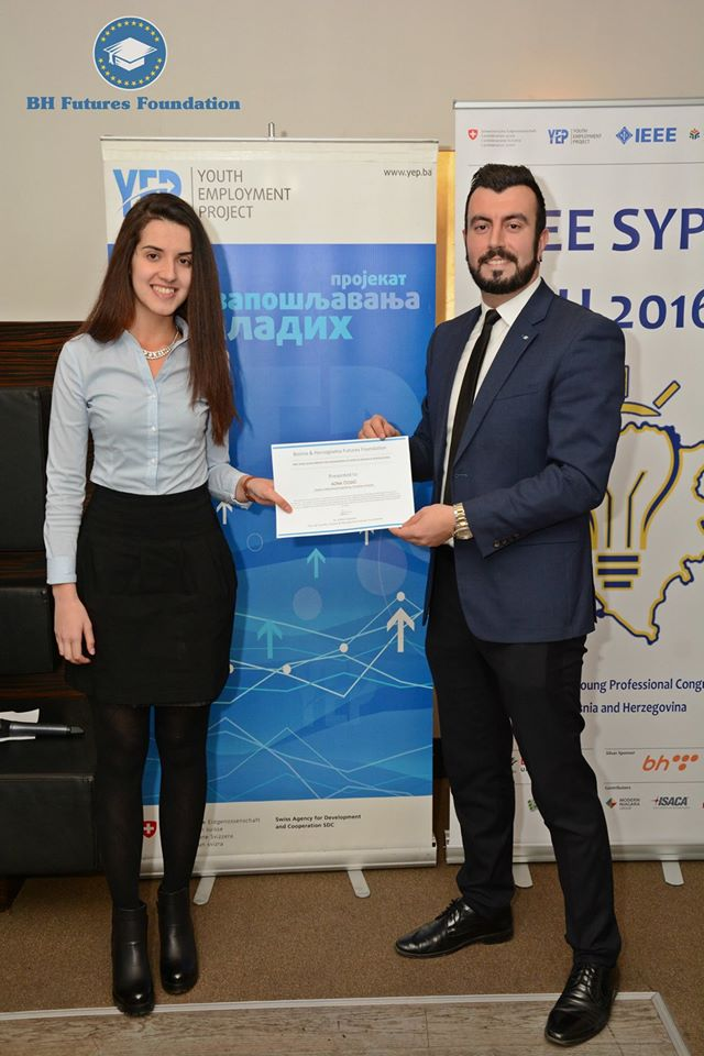 Ms. Adna Cosic with with Foundation Founder and Chair Prof. dr. Eddie Custovic. Adna was awarded a 12 month scholarship to study mechanical enigneering at the University of Zenica.