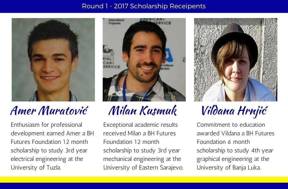 Round 1 2017 - Scholarship Recipients