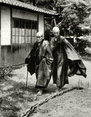 Kodo Sawaki Roshi and Kosho Uchiyama Roshi walking in the garden at Antaiji Temple in Kyoto, Japan in the 1960's.