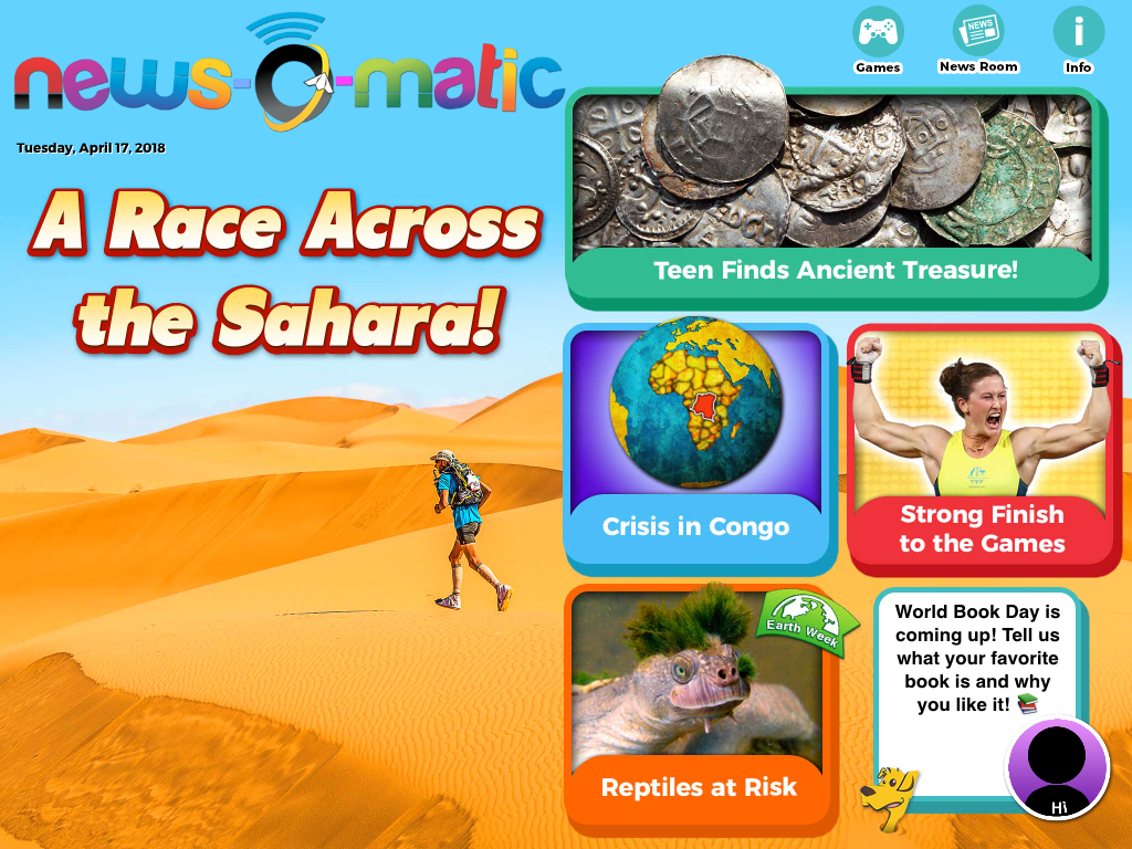 A front page for the children's newspaper, News-O-Matic