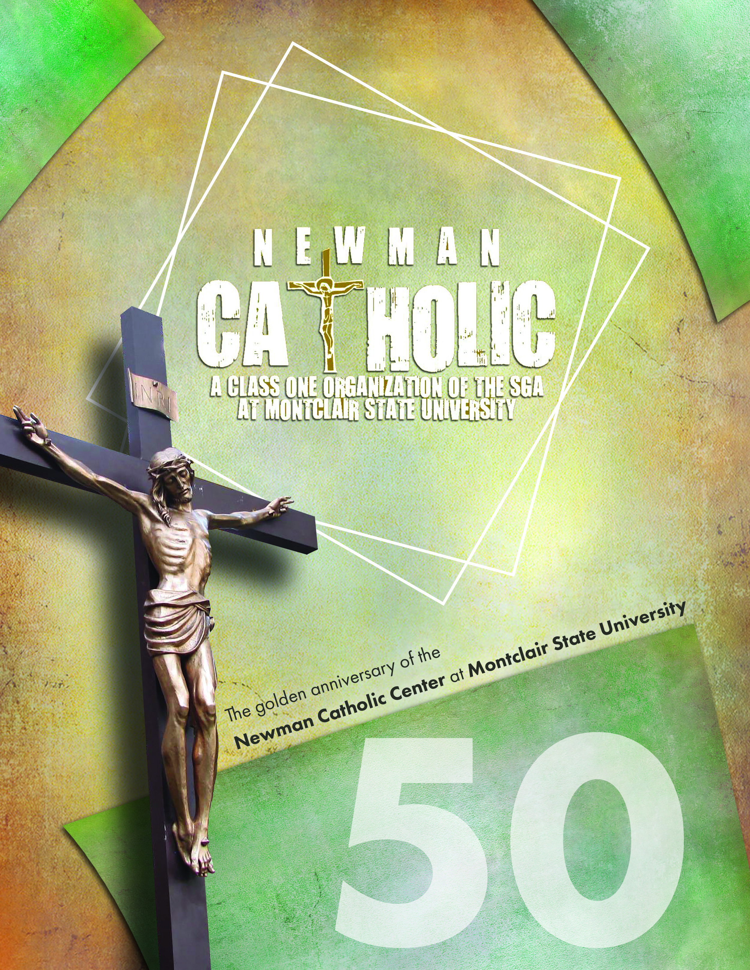 A cover for the annual Newman Catholic Center Booklet (Montclair State University)
