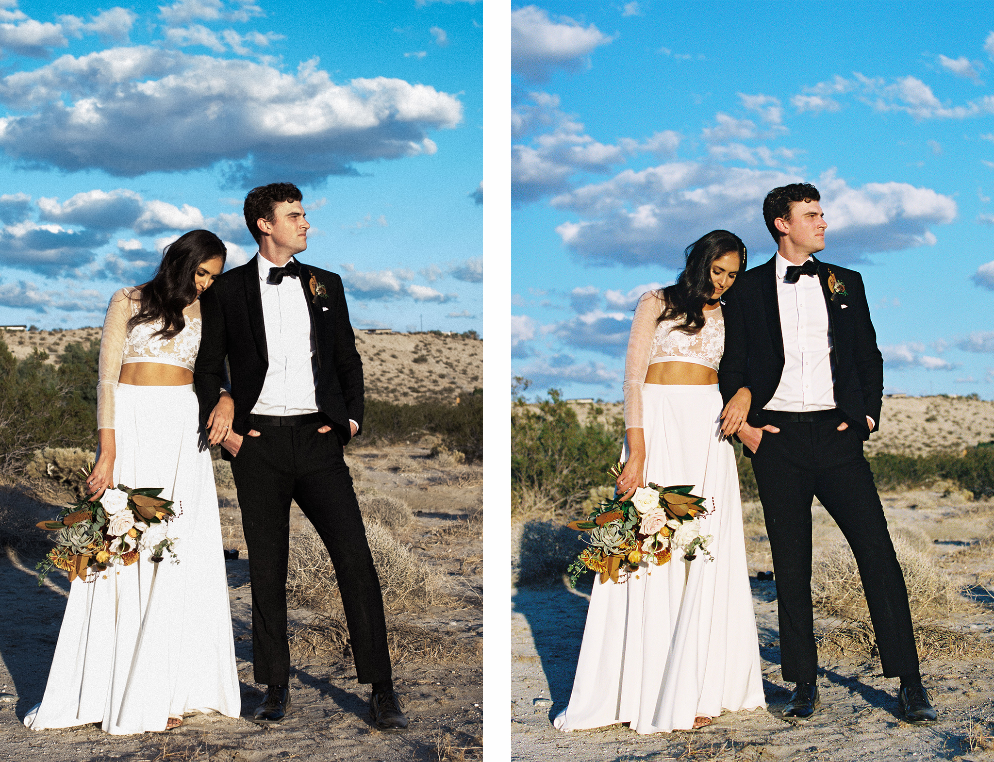 Mastin Labs Portra 400 digital edit on the left vs. Portra 400 shot on 35mm film with my Canon EOS 3 and 50mm 1.2L lens. This right here is the beauty of film. The image on the left took a couple minutes to edit, the image on the right is straight from the lab. Notice the highlights in her dress and on his shirt, saved on film, disappearing on digital. Also notice the better depth in colors on her bouquet and perfect skin tones.