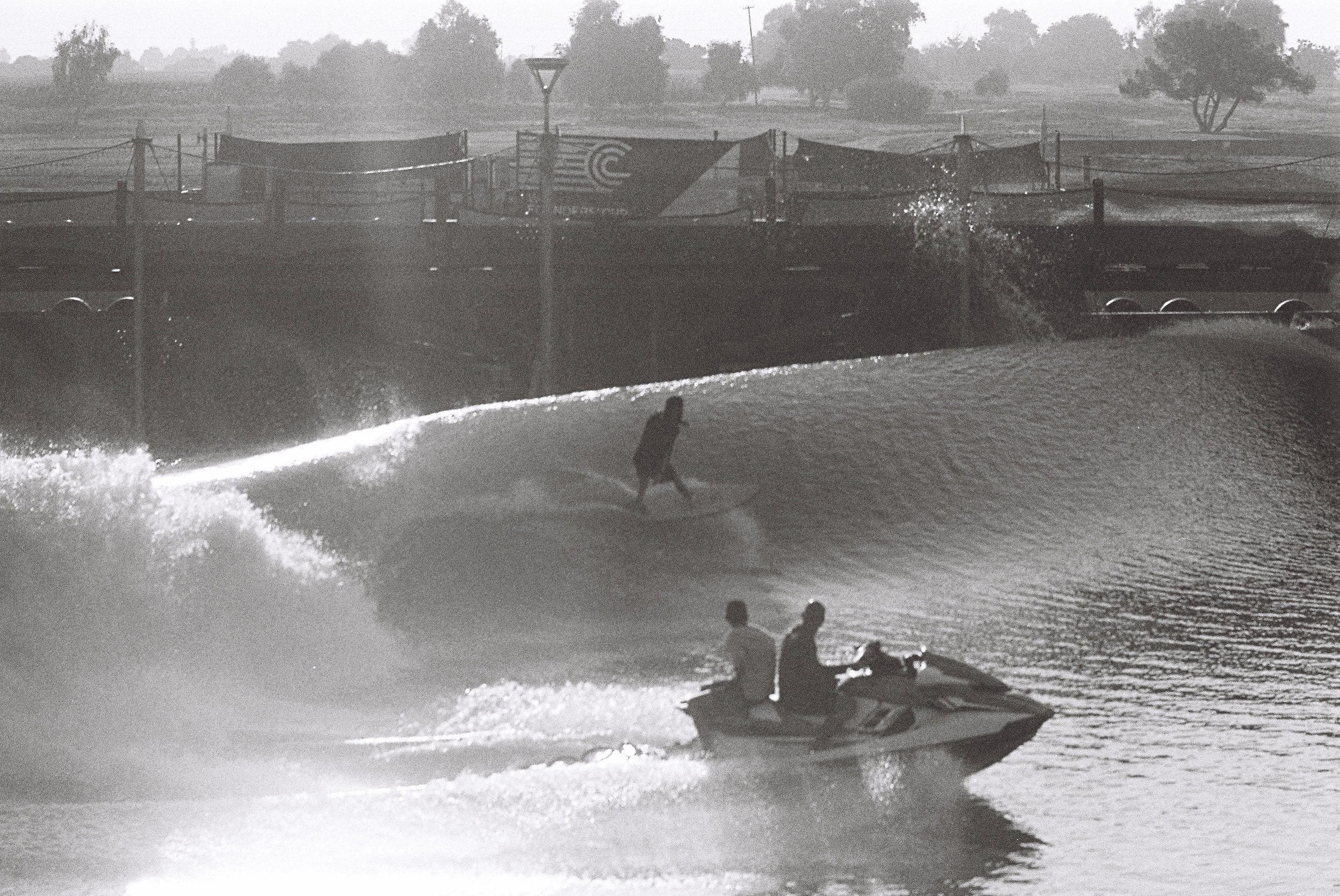 Kelly Slater's Surf Ranch - Kodak Tri-X film - shot on my Canon AE-1 with a 100-200mm lens .