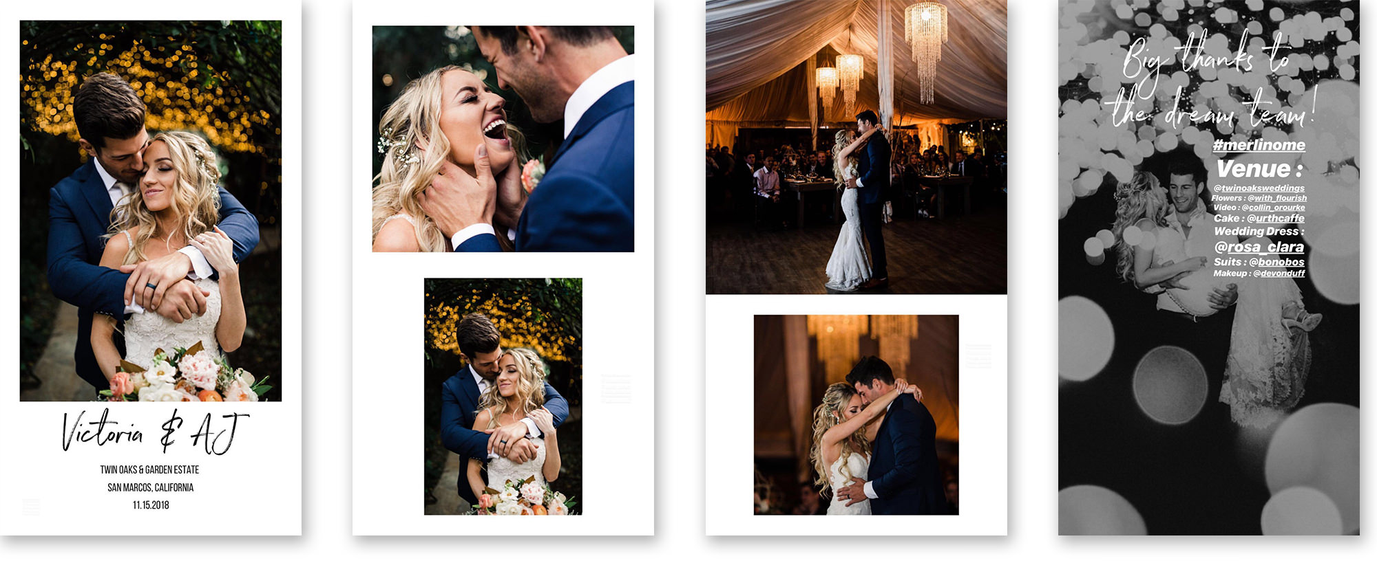 """Pro Tip: Tag all the vendors and couple in each story post so they can easily share to their story on Instagram. You can make the text small and white if you don't want it to distract from the images. Just make sure you write the @ symbol and their name and click on their profile when it auto-pops up so that their name underlines and it actually """"tags"""" them."""