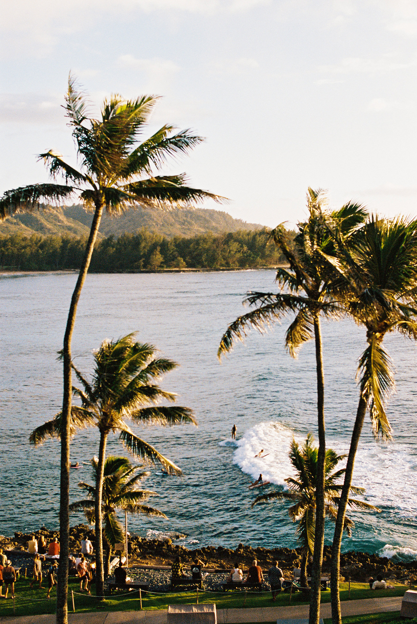 View from our balcony window. Every night at sunset this was our view. Surfers riding long peeling soft rights. So fun!