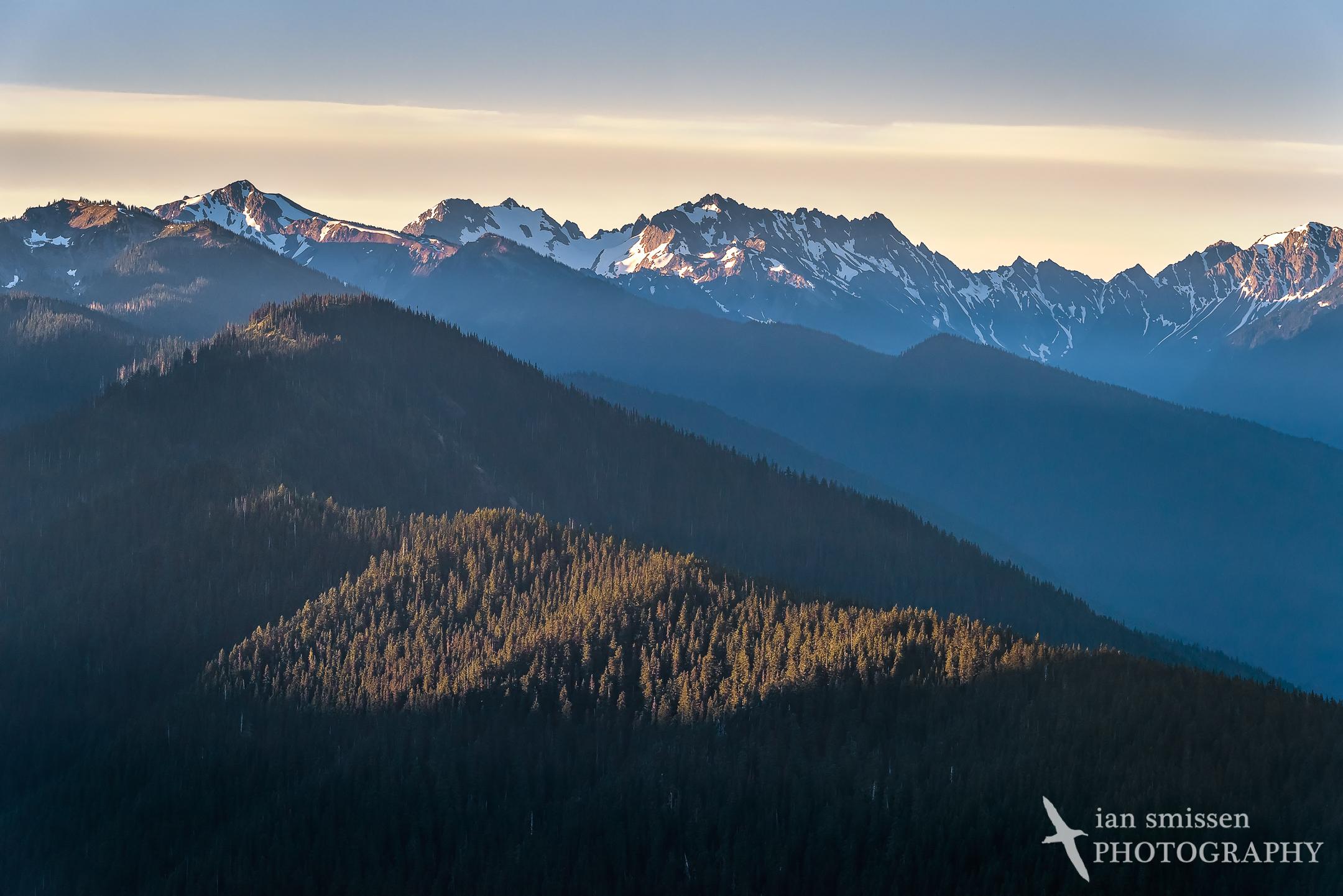 First sunlight on the mountains, Hurricane Ridge