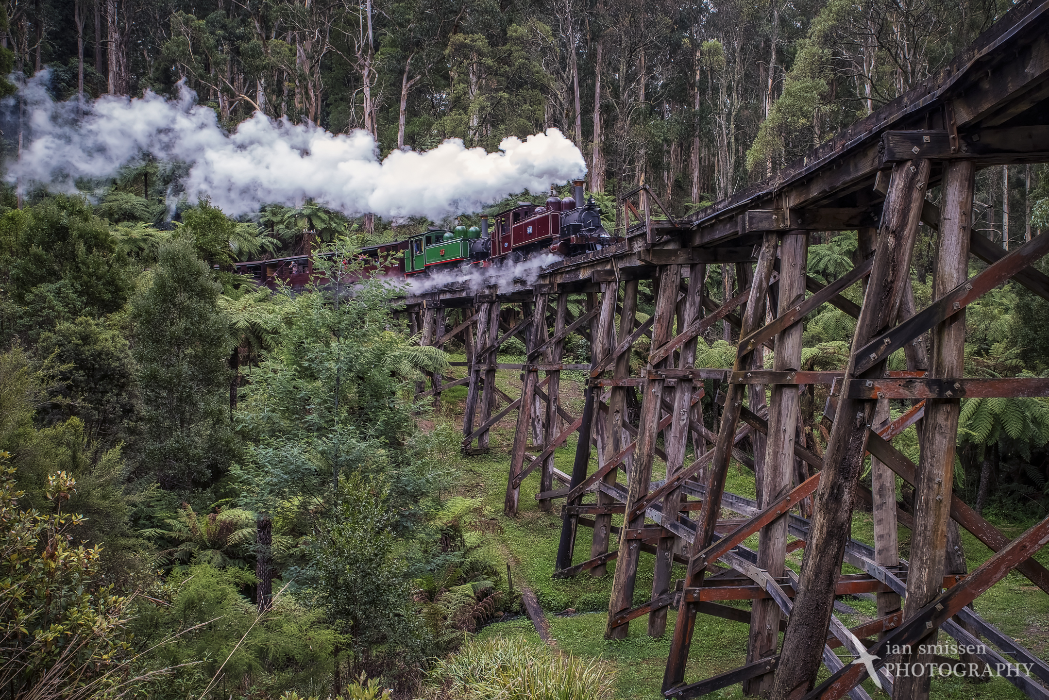 Puffing Billy on trestle bridge, Belgrave, Victoria 27mm, ISO 2500, 1/80 second @ f/8, Circular Polarising Filter