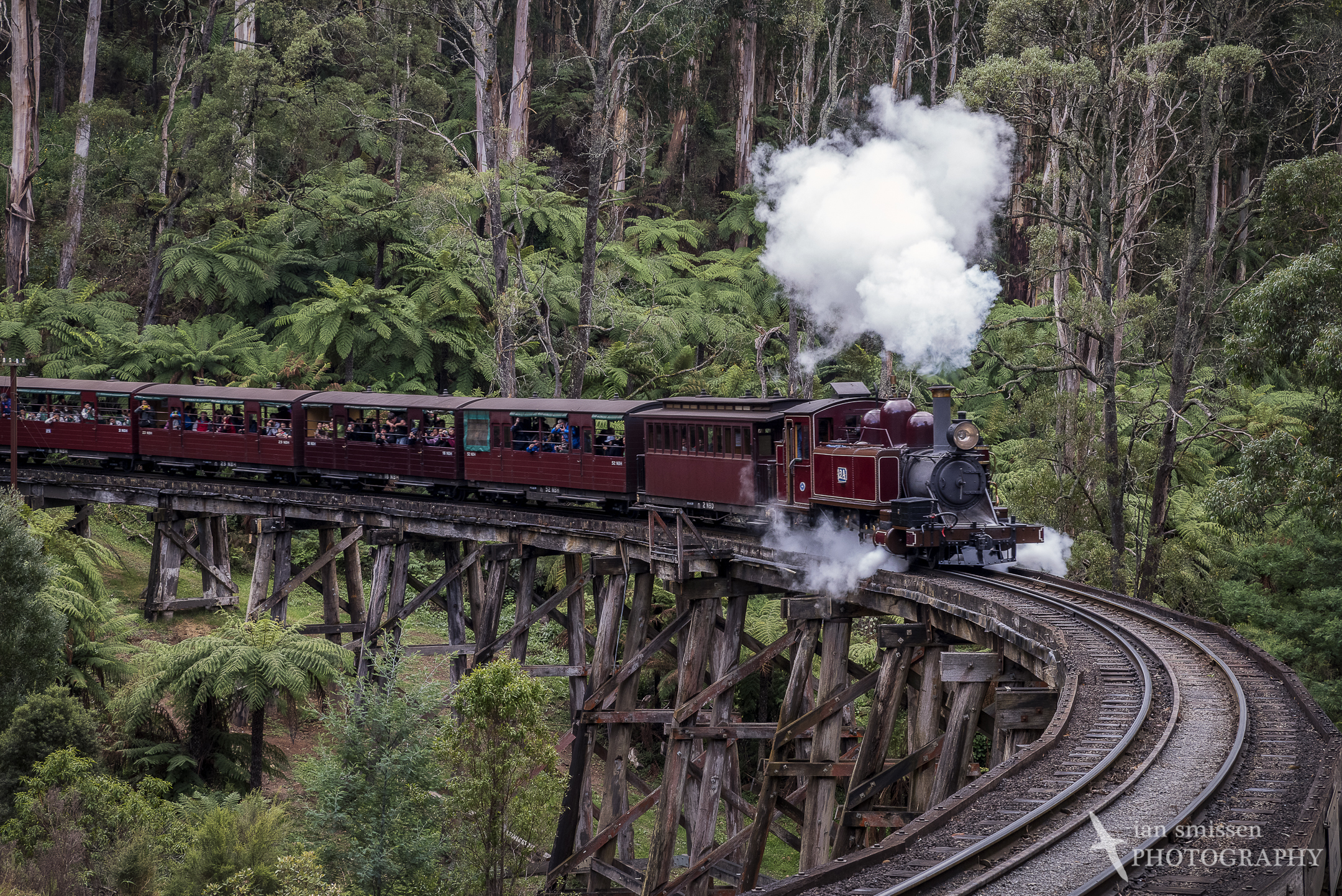 Puffing Billy on trestle bridge, Belgrave, Victoria 65mm, ISO 1000, 1/60 second @ f/8, Circular Polarising Filter
