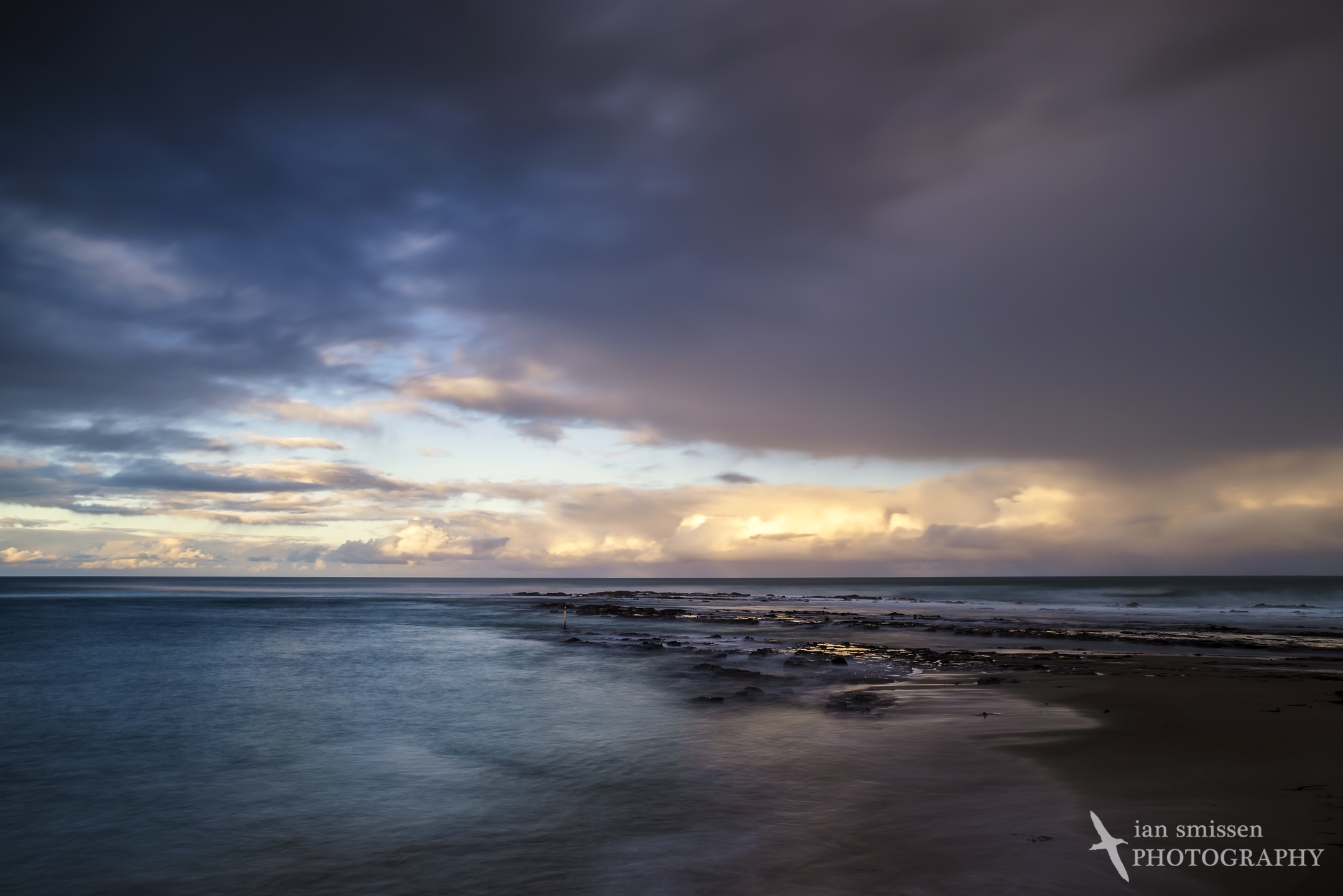 Approaching storm at sunset